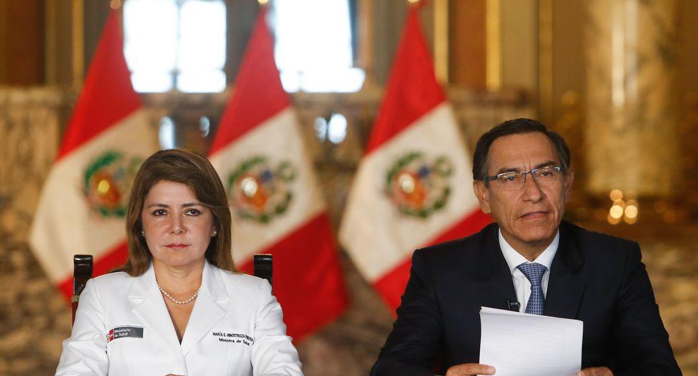 Ministra de Salud Elizabeth Hinostroza y el presidente Martín Vizcarra. (Agencias)