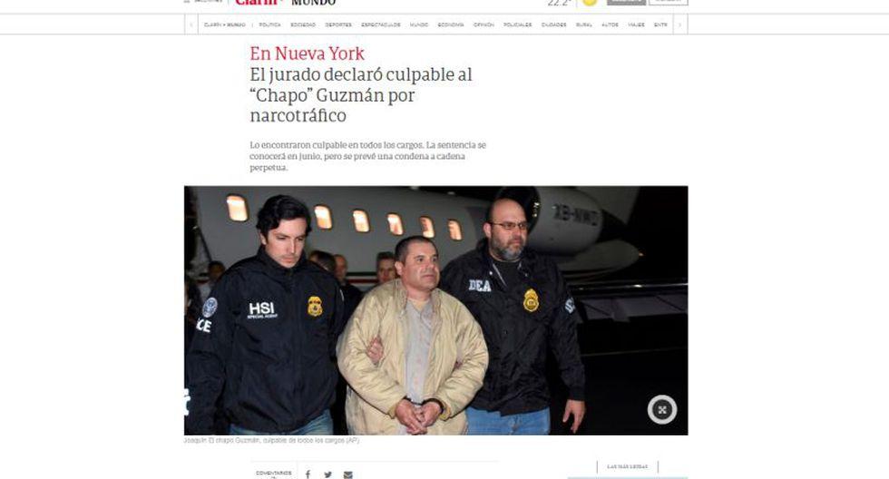 """Un jurado de Nueva York declaró culpable de todos los cargos a """"El Chapo"""" Guzmán. (Foto: Clarín)"""