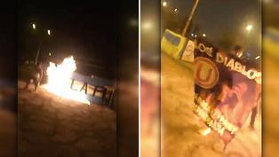 Barra brava de la 'U' ingresa al Rímac y quema pintas de Sporting Cristal