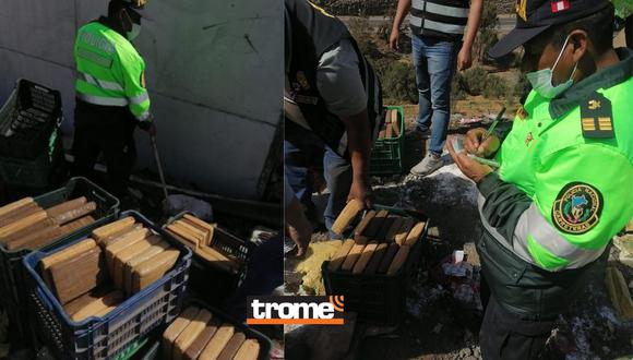 Arequipa: Camión se despista y policías encuentran 442 paquetes con marihuana