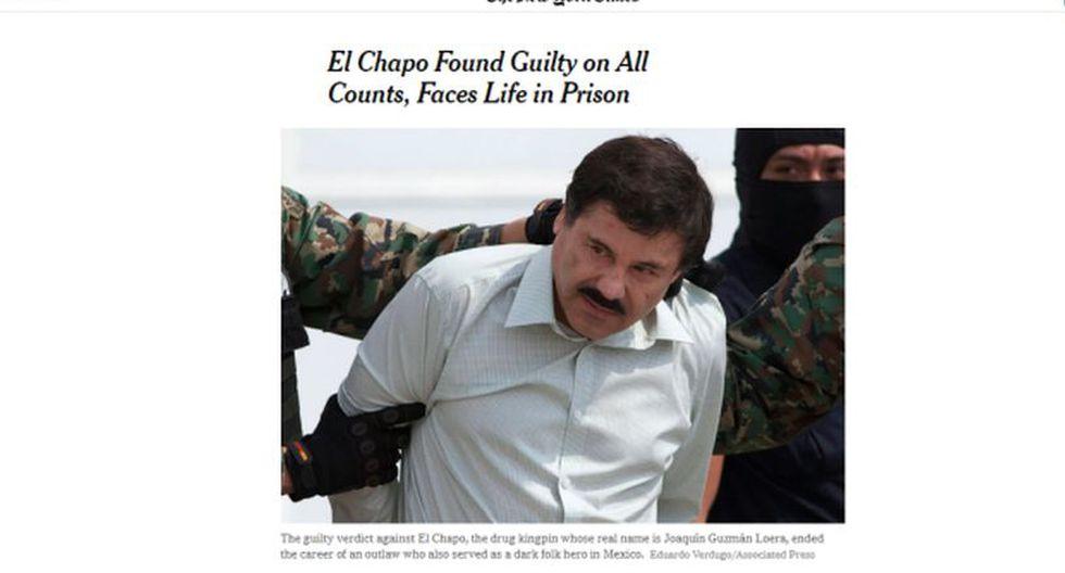 """Un jurado de Nueva York declaró culpable de todos los cargos a """"El Chapo"""" Guzmán. (Foto: The New York Times)"""