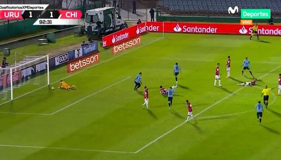 El gol de la victoria de Maxi Gómez en el Uruguay vs Chile por las Eliminatorias Qatar 2022. (Movistar)