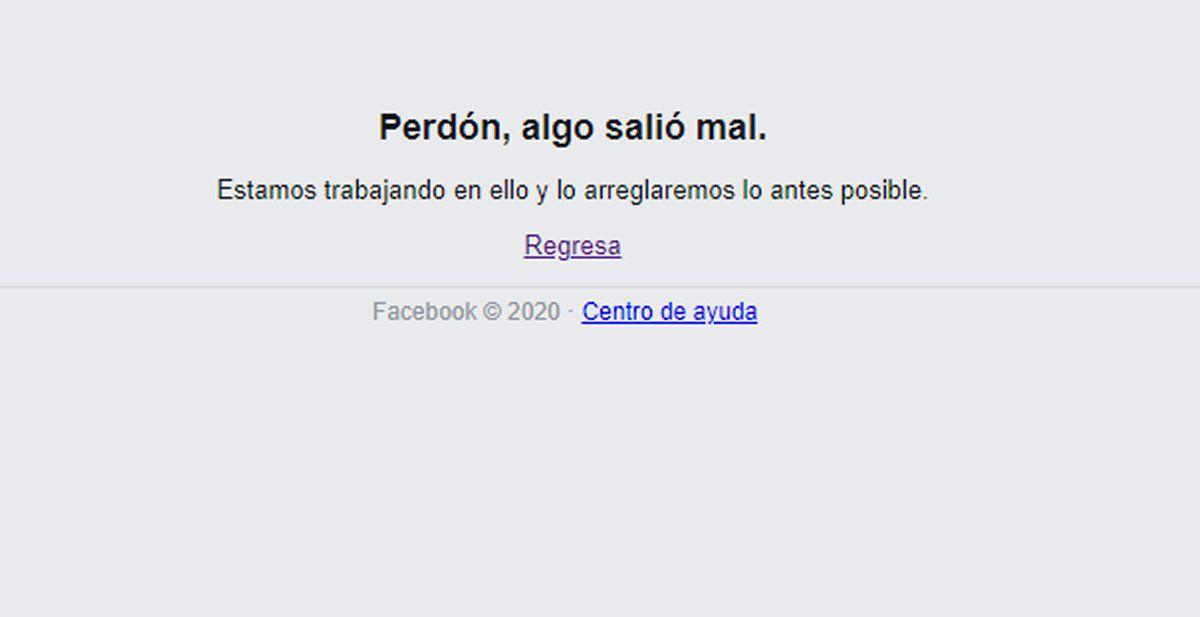 El mensaje de Facebook cuando comenzó a presentar errores. (Foto: Facebook)