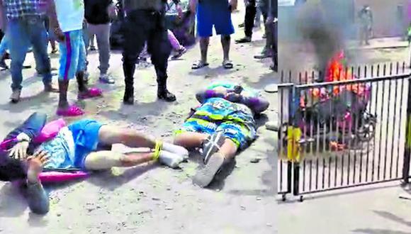 Vecinos masacran a ladrones y queman su mototaxi tras robar celular a esposos