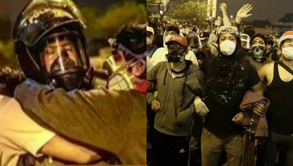 Policía Carlos Flores se hizo viral por su gesto de cariño con los jóvenes manifestantes | TROME