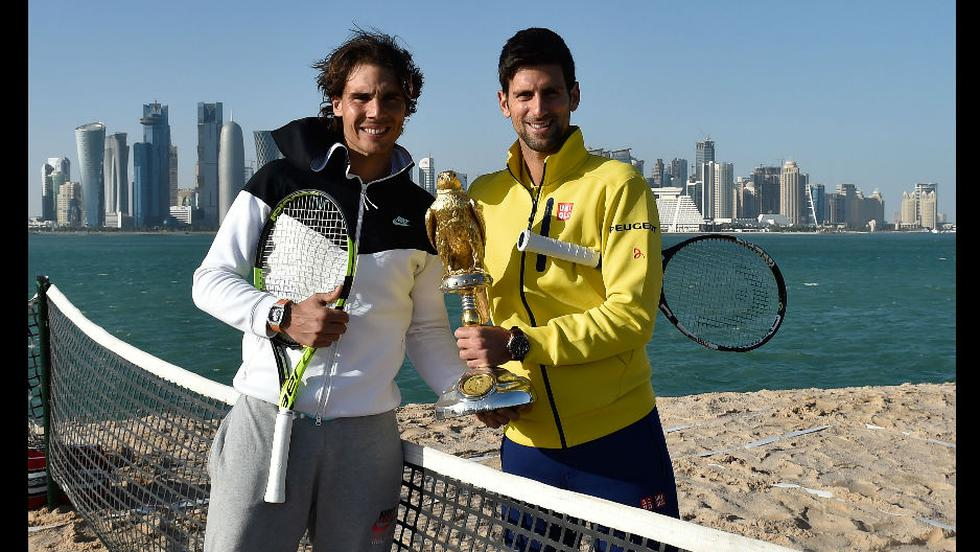 Novak Djokovic y Rafael Nadal cara a cara en Doha.