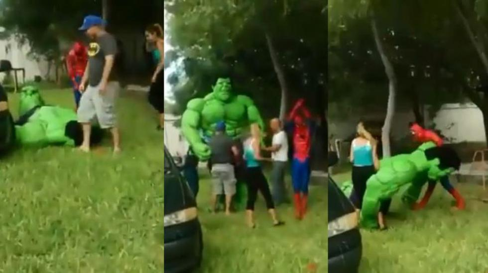 Este Increíble Hulk tuvo una desastrosa actuación en el cumpleaños de un niño en México. (Foto: Captura)