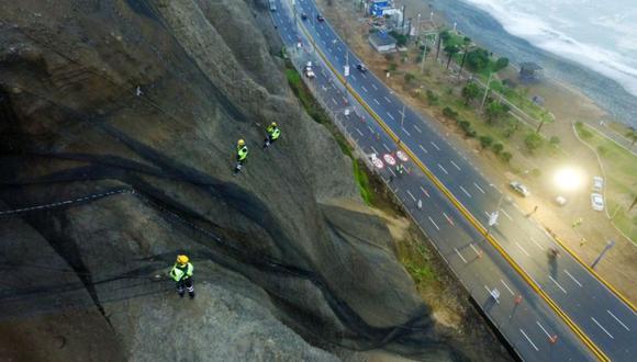 Con la colocación de las geomallas se busca proteger a los transeúntes y vehículos que pasan por la Costa Verde.