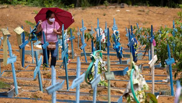El número de muertes por coronavirus en Brasil viene cayendo lenta y gradualmente tras el pico de la segunda ola de la pandemia. (Foto: Michael DANTAS / AFP)