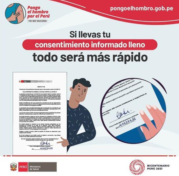 Recuerda llevar tu DNI y tu consentimiento firmado para agilizar el proceso de vacunación. Foto: Minsa
