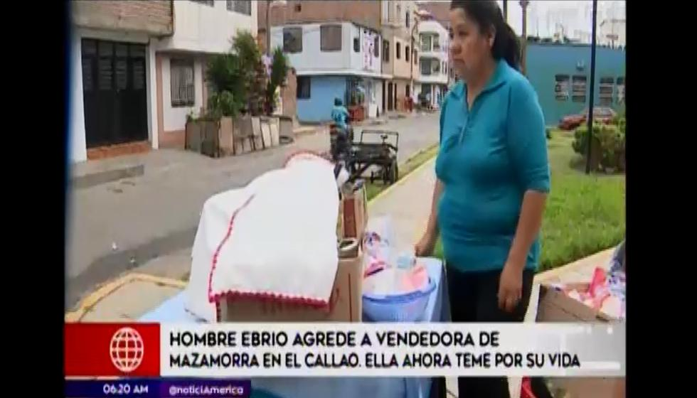 Hombre agredió a vendedora de mazamorra en el Callao. (Foto: Captura América Noticias)
