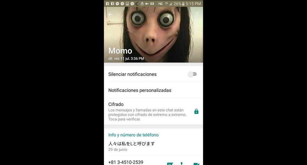Esta es la hora de última conexión de 'Momo', el supuesto creepypasta de WhatsApp. (Foto: WhatsApp)