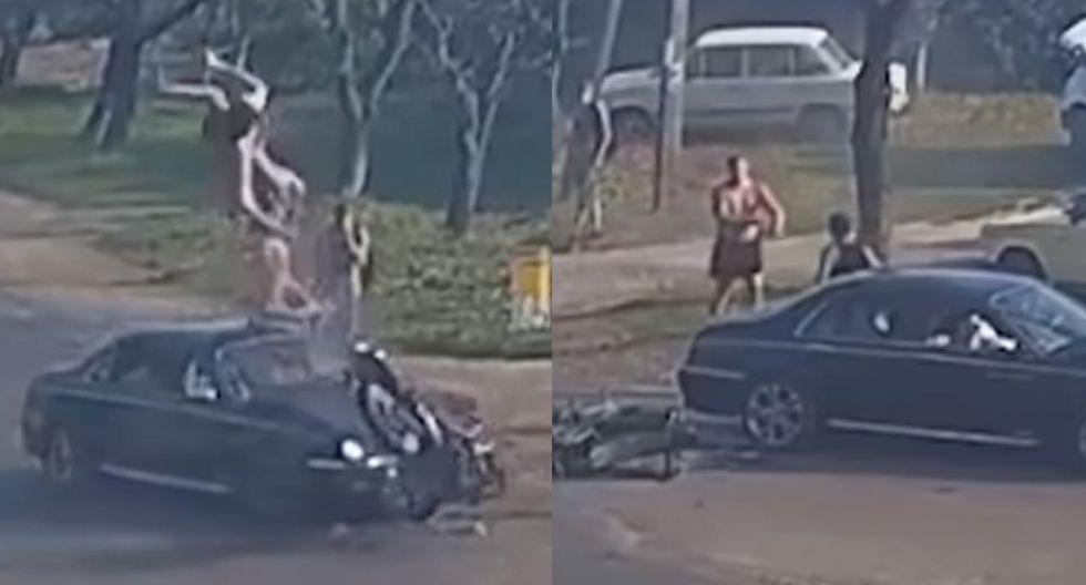 Accidente automovilístico se originó porque el automóvil invadió el carril contrario de forma repentina. (Foto: YouTube)