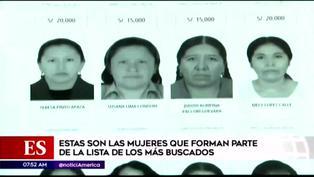 Estas son las mujeres más buscadas de la lista de recompensas de la Policía Nacional