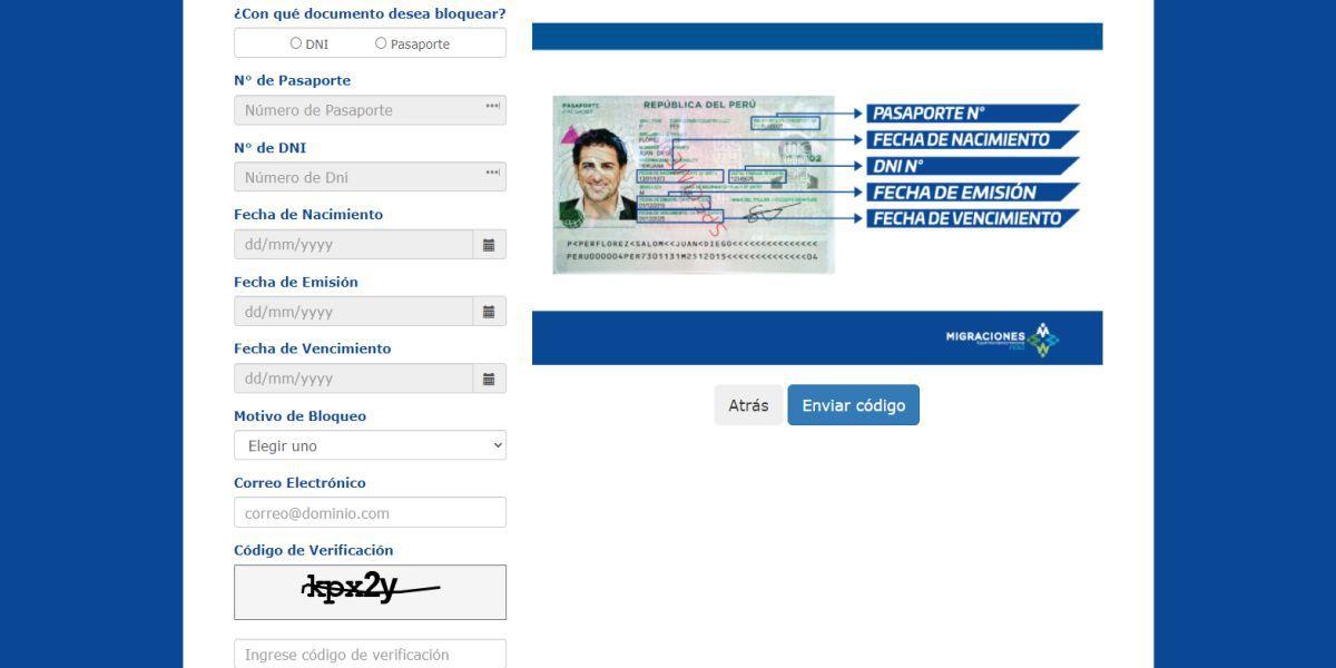Durante tu registro Migraciones te brindará un código de bloqueo  y siguiendo unos sencillos pasos podrás bloquear tu pasaporte perdido o robado (Imagen: Migraciones)