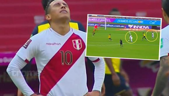Cueva falla increíble gol ante Ecuador  (Captura América TV )