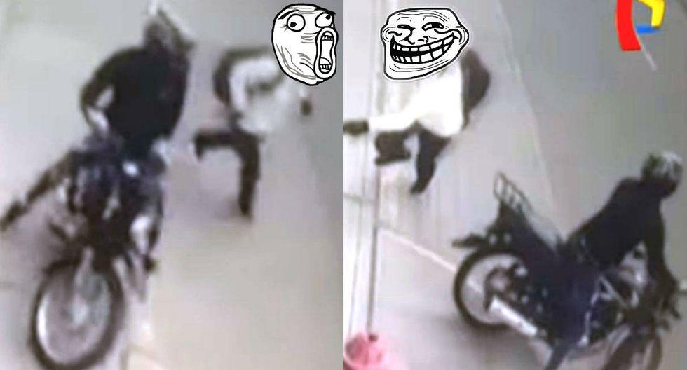 Delincuente en moto persigue a escolar para robarle pero niño lo esquiva épicamente y escapa. Foto: Captura de Buenos Días Perú