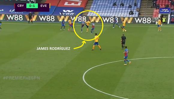 Gran acción de James Rodríguez con Everton por la Premier League