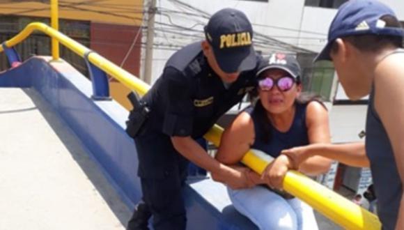 Trujillo: Mujer intentó lanzarse desde puente porque no la llevaron a bailar. (Foto: PNP)