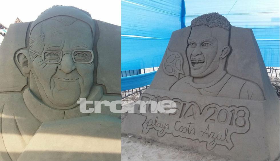 La imagen del papa Francisco yde  Paolo Guerrero también fueron representadas en esculturas de arena realizadas por Rubén Rebatta. (Foto: Trome)
