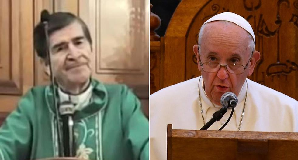 Imagen de monseñor mexicano Antonio González Sánchez y el papa Francisco. (AFP / Captura de video - YouTube).