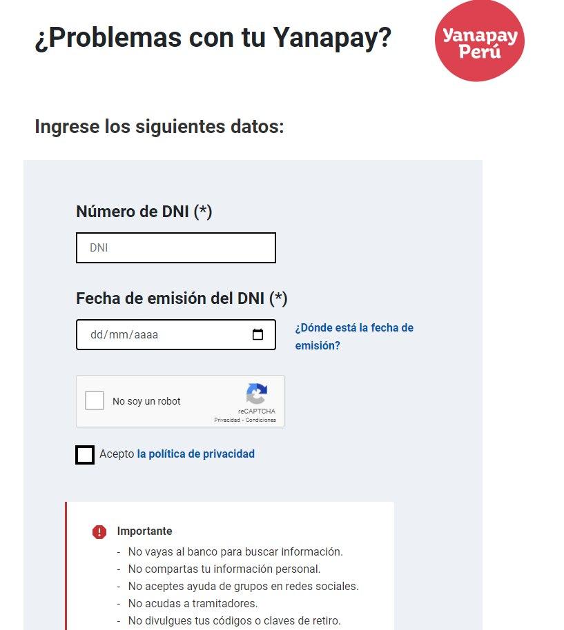 Portal para solicitar la devolución del Bono Yanapay. (Foto: Captura)
