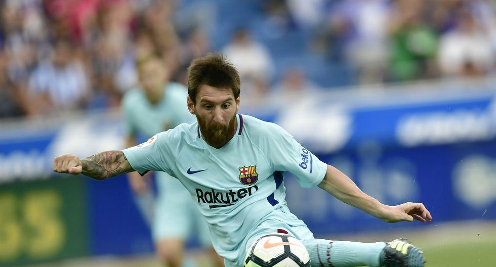 Lionel Messi marcó doblete al Alavés