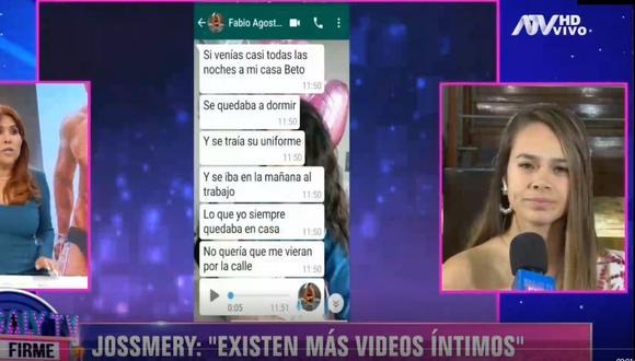 Jossmery Toledo afirma que no autorizó que Fabio pasará video íntimo a sus amigos