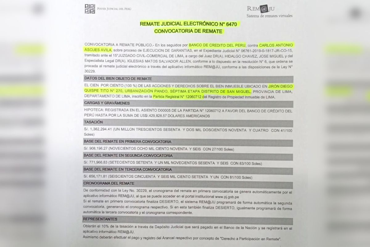 Poder Judicial ordenó remate de la hipoteca de la propiedad (Captura)
