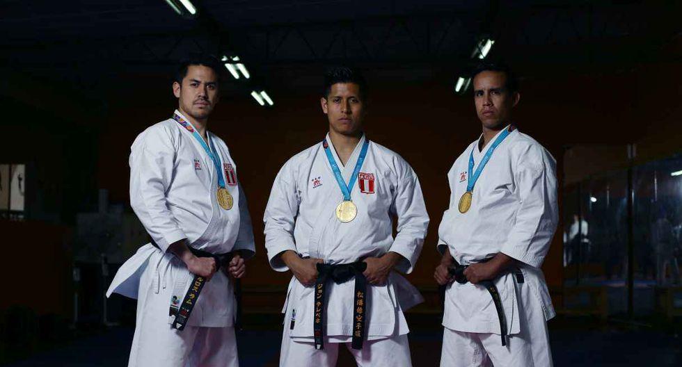 John Trebejo, Oliver del Castillo y Carlos Lam – Oro en karate modalidad kata (Foto: GEC)