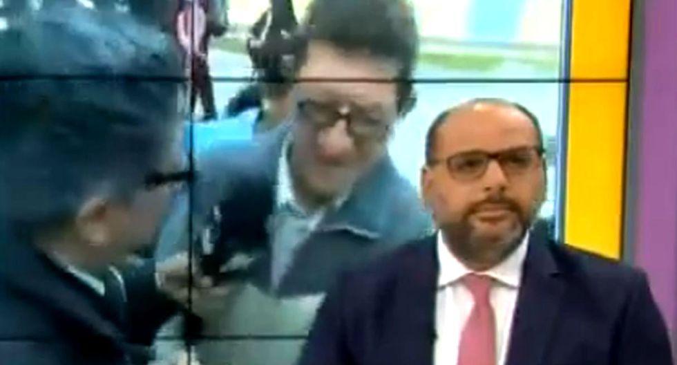 """Trabajador de colegio donde fueron dopadas 3 niñas se pelea con reportero: """"Ya, que venga el ministro"""". Foto: Captura de pantalla de ATV"""