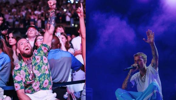 Conor McGregor disfruta su tiempo alejado de la jaula de acero en concierto de Justin Bieber