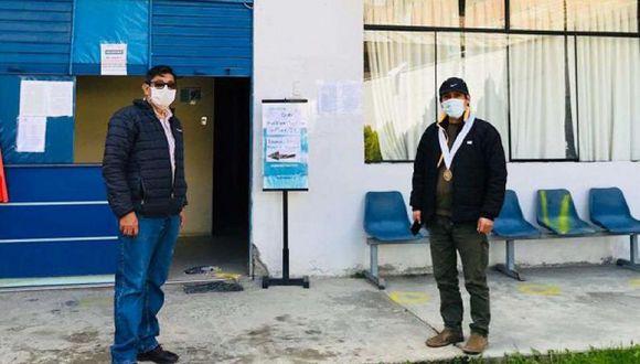 Huánuco. El fiscal César García y el alcalde Amancio Vera coordinan acciones para albergar a ciudadanos que llegarán de Lima.  (Ministerio Público)