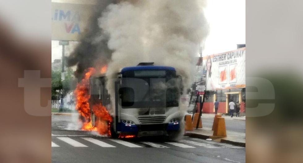 Bus del Corredor Azul se incendia (Foto: Trome)