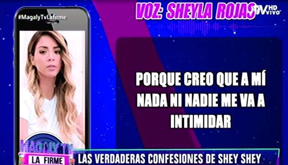 """Sheyla Rojas respondió si Pedro Moral tiene fotos íntimas suyas: """"Es vergonzoso tocar ese tema"""". (Capturas: Magaly Tv. La firme)"""