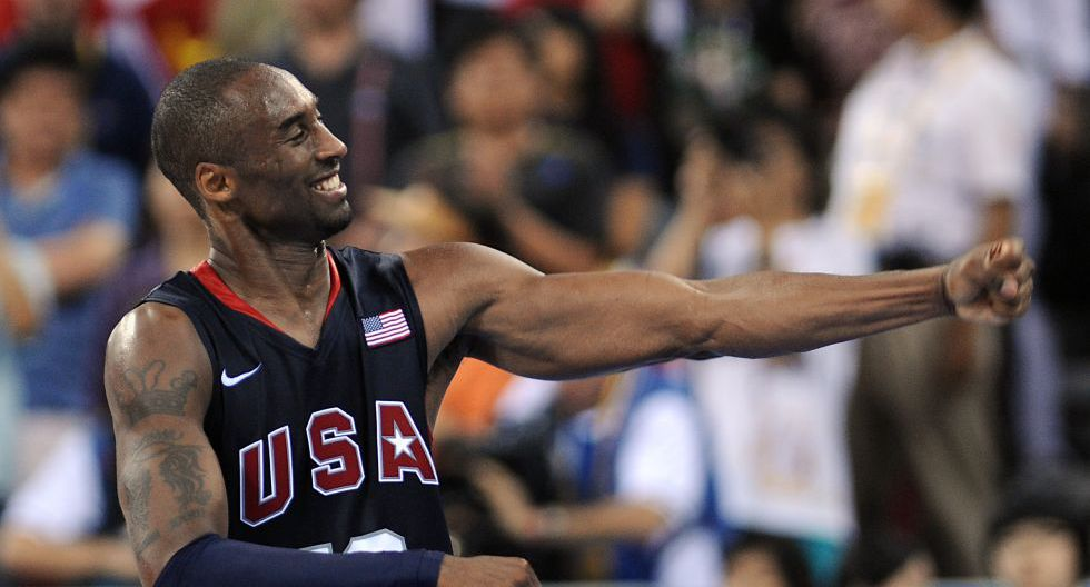 USA's Kobe Bryant celebrates at the end of the men's basketball gold medal match Spain against The US of the Beijing 2008 Olympic Games on August 24, 2008 at the Olympic basketball Arena in Beijing. The US won 118-107.  AFP PHOTO / FILIPPO MONTEFORTE (Photo by FILIPPO MONTEFORTE / AFP)