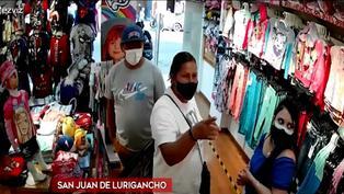 SJL: cámaras de seguridad delatan a pareja de 'tenderos' en tienda de ropa para niños