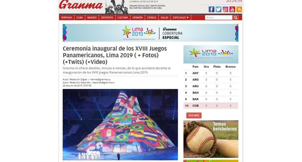"""Granma, de Cuba, tituló: """"Ceremonia inaugural de los XVIII Juegos Panamericanos, Lima 2019""""."""