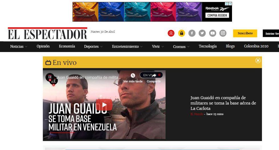 El Espactador de Colombia contó mediante videos la liberación de Leopoldo López en Caracas. (Foto: El Espectador)