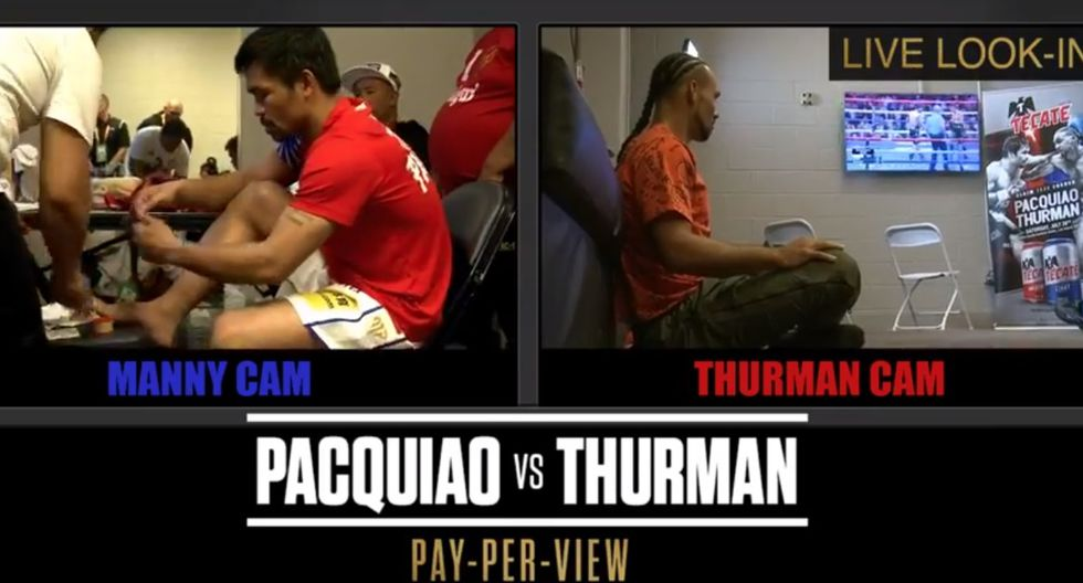 Manny Pacquiao y Keith Thurman, momentos antes de la pelea.  (Redes sociales)