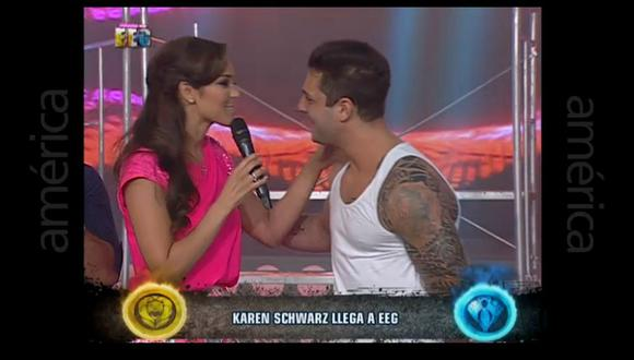 Karen Schwarz y Nicola Porcella tuvieron enfrentamiento en 'Esto es Guerra' (Foto: América TV)
