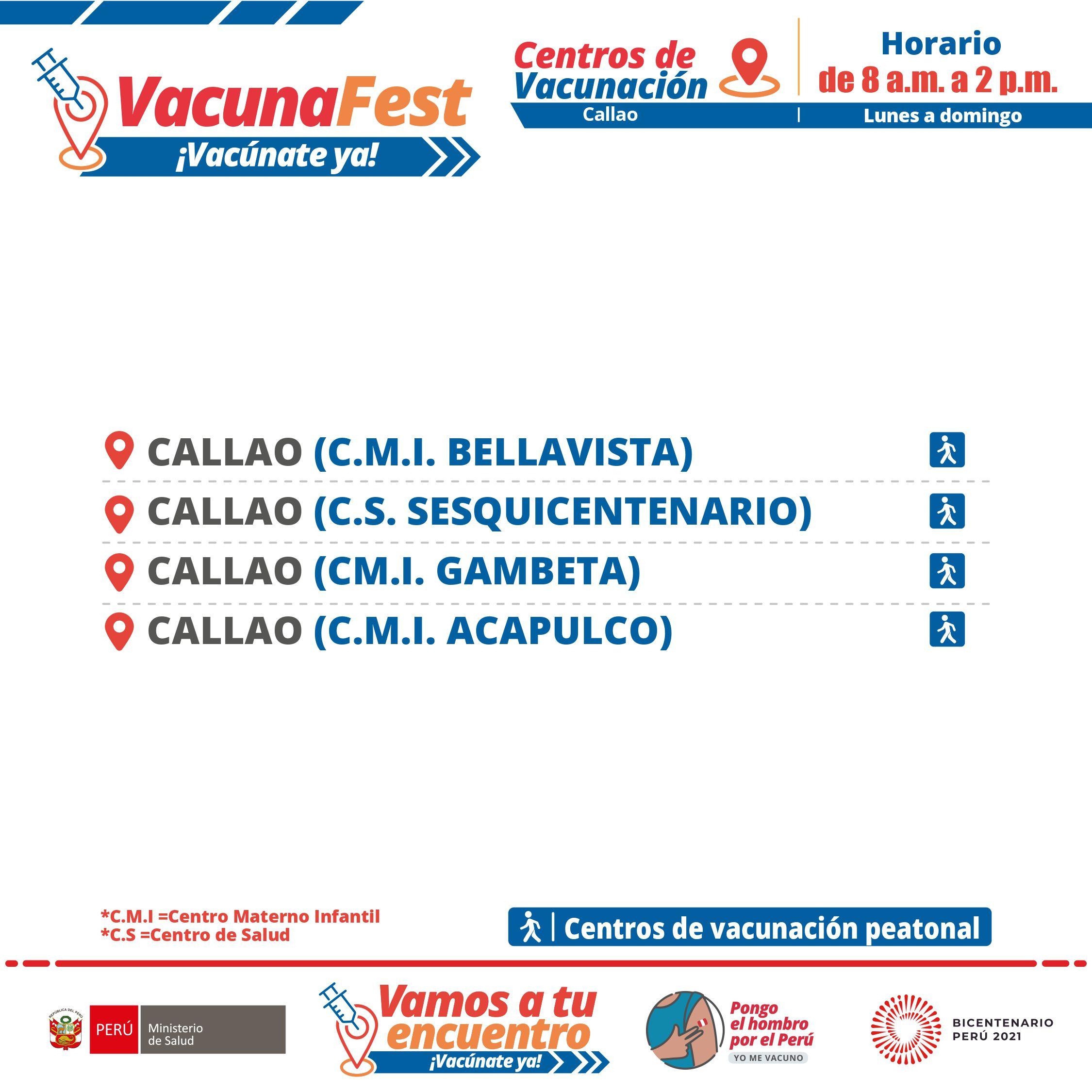 Centros de vacunación peatonal.