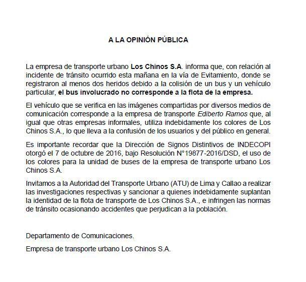 Comunicado de la empresa Los Chinos sobre accidente ocurrido en la Vía Evitamiento, el pasado 29 de septiembre.