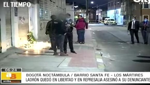El barrio de Santa Fe, ubicado en el centro de Bogotá en Colombia, está conmocionado por lo sucedido. (Captura de video/El Tiempo).