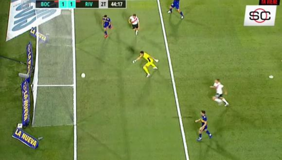 Jugada pudo ser el segundo gol de River Plate ante Boca Juniors