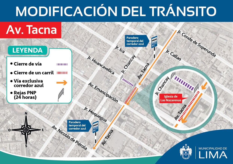 Modificación temporal del tránsito en la Av. Tacna debido a festividades por el Señor de los Milagros.