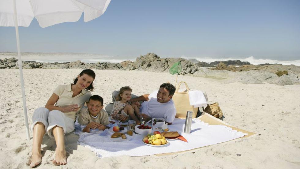 Alimentos para un día de playa.