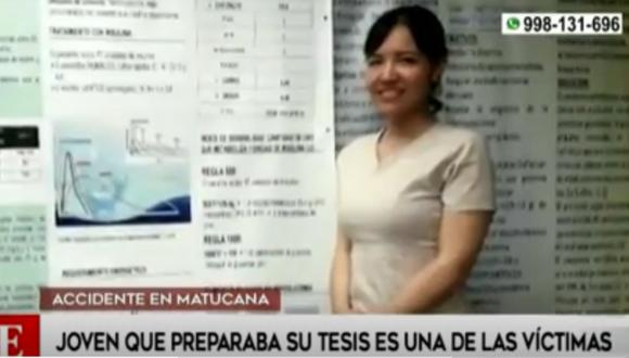 Herlly Carrasco estaba recabando información para presentar su tesis. Foto: captura América Noticias.