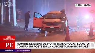 Un hombre se salva de morir en un accidente en la avenida Ramiro Prialé