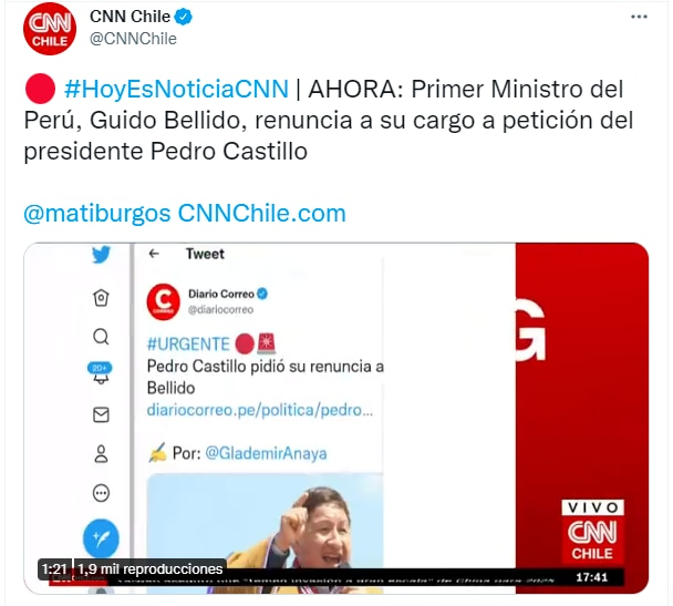 Guido Bellido en el Twitter de CNN Chile.
